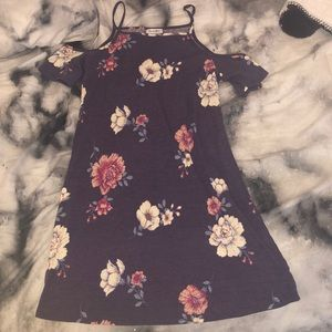Purple base with floral accents mini dress